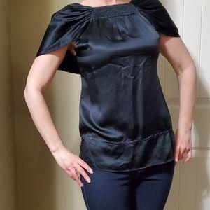 🌲 BCBG black silk blouse